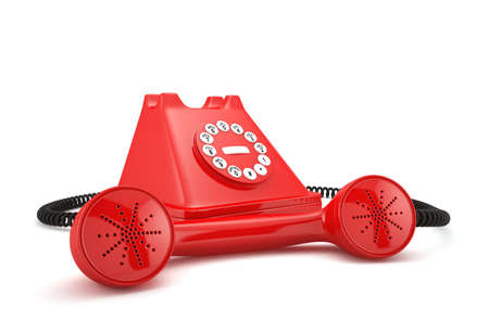3d illustration of red old-fashioned phone on white background illustration