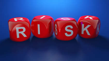 red dice: 3d render of red dices with RISK text