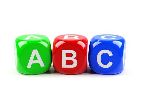 Rendu 3D de ABC dés isolé sur fond blanc
