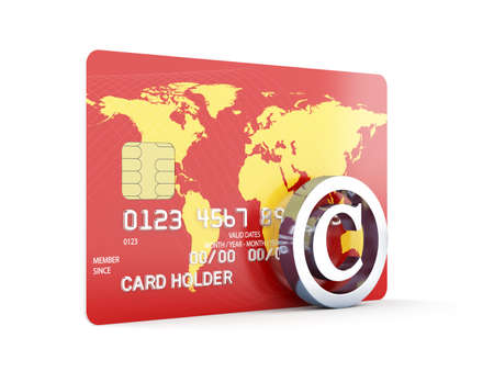 internet banking: 3d render of credit card with copyright sign