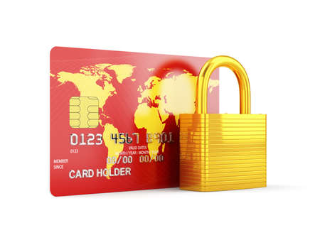 secure payment: 3d render of credit card with golden lock