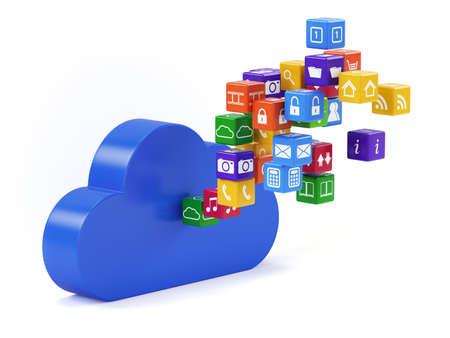 3d render of cloud technology media concept