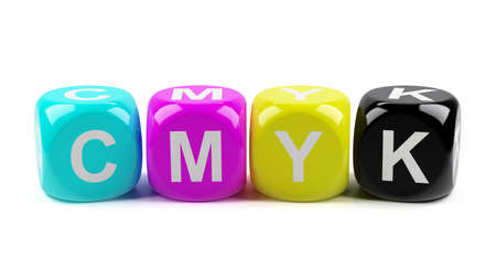 polygraphic: 3d render of CMYK dices isolated on white background