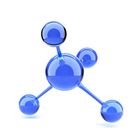 atomic structure: 3d render of blue molecule isolated on white background