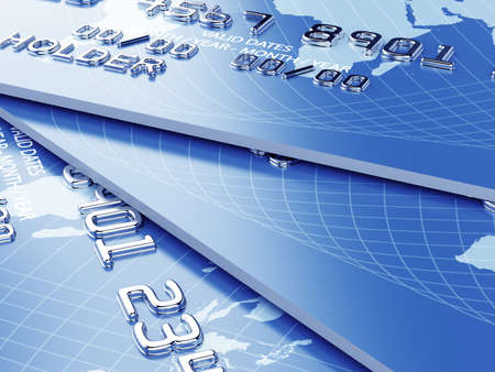 e card: 3d illustration of credit card stack background concept