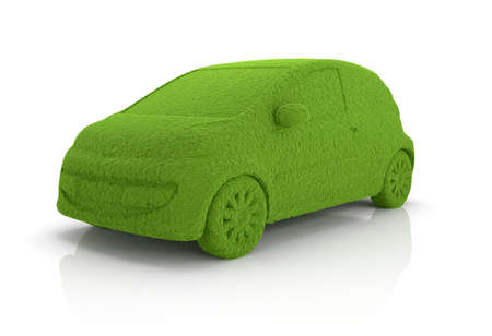 3d render of eco grass car isolated on whute background photo