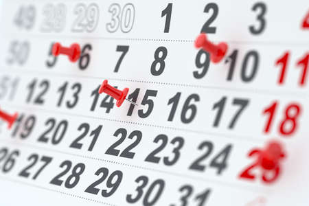 3d closeup render of the calendar with red pins. Soft focus