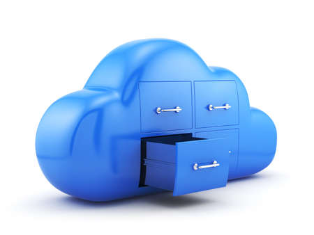 downloading: 3d render of cloud storage concept. Isolated on white background Stock Photo
