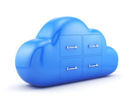 cloud computing services: 3d render of cloud storage concept. Isolated on white background Stock Photo