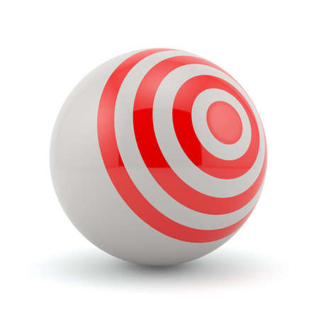 3d render of red target sphere on white background photo