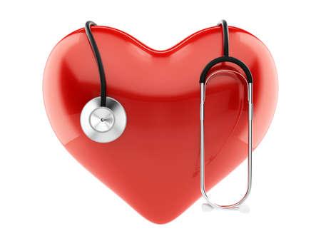 붉은 심장의 렌더링에 고립 된 stethoskop 차원