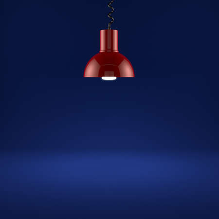 3d render of red lamp illuminating on blue background  photo