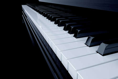 side keys: 3d render of piano side view with keys lost in the dark Stock Photo