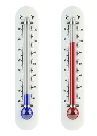 termometro: 3d de term�metros aislados sobre fondo blanco