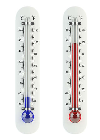 growth hot: 3d render of thermometers isolated on white background