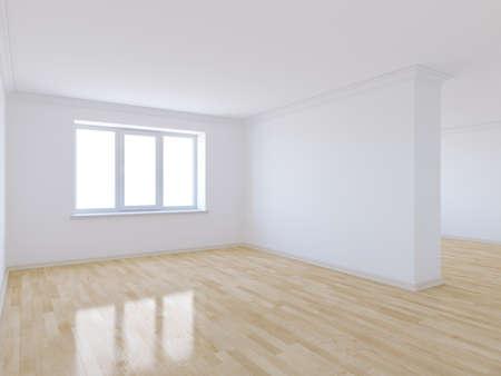 3d de la sala vacía, con suelo de madera Foto de archivo