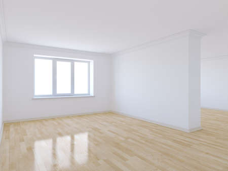 3d render of empty room with wooden floor