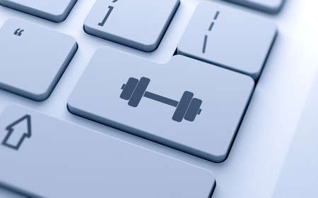 keyboard: 3d render of dumbbell icon button on keyboard with soft focus