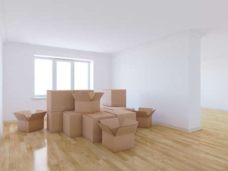 move: 3d render of moving boxes in empty room Stock Photo