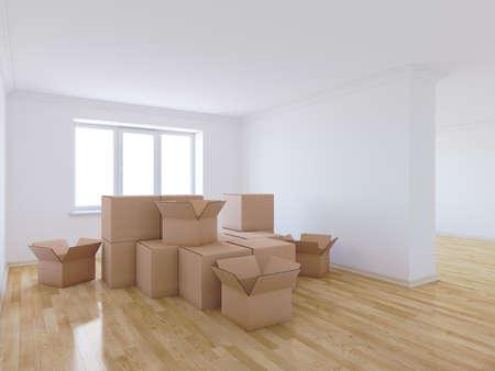 Rendu 3D de boîtes de déménagement dans la chambre vide