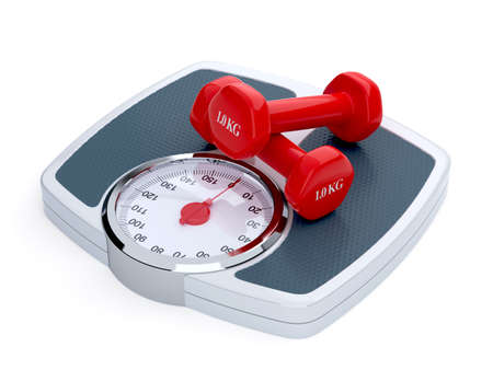 3d render of weight scale with red dumbbells isolated on white background photo