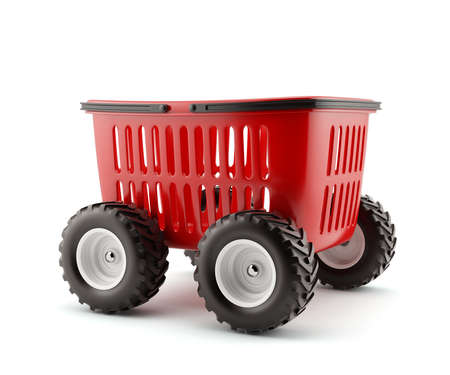 3d render of shopping basket on wheels isolated photo