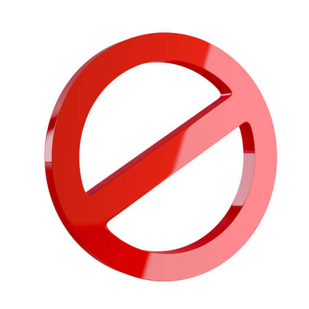 deny: 3d render of red deny symbol isolated on white background Stock Photo