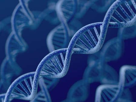 파란색 배경에 DNA의 3d 렌더링