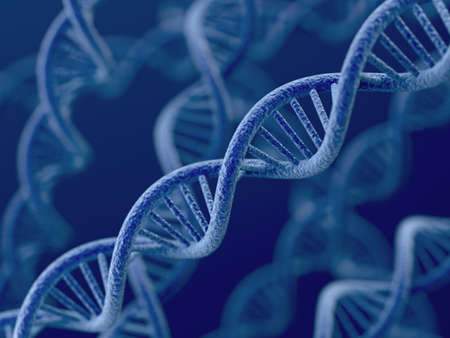 dna double helix: 3d render of DNA on blue background  Stock Photo