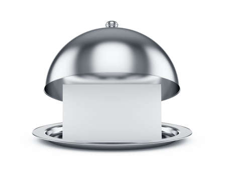 3d chef: 3d render of opened cloche with paper template, isolated on white background