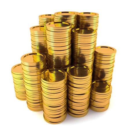 precious metal: 3d render of gold coin stack isolated