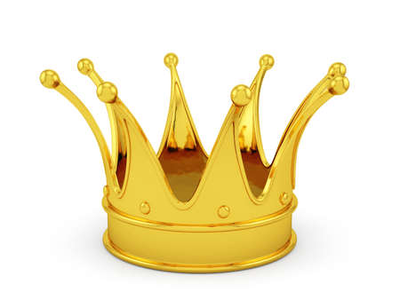luxuriance: 3d render of gold crown isolated on white background Stock Photo