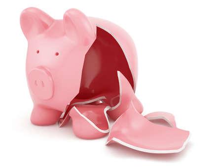 빈 깨진 된 돼지 저금통의 3d 렌더링