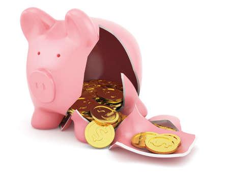 3d render of broken piggy bank with golden coins photo