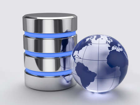 virtual server: 3d render of global storage concept Stock Photo