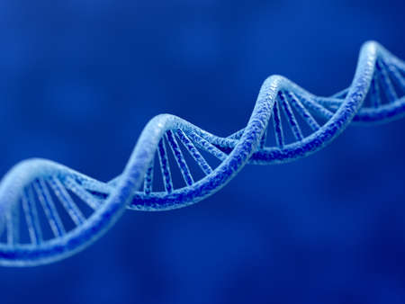 青色の背景に DNA の 3 d レンダリング 写真素材