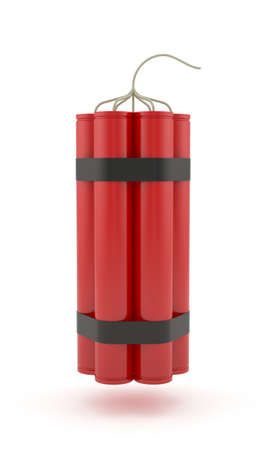 tnt: 3d render of dynamite isolated on white background