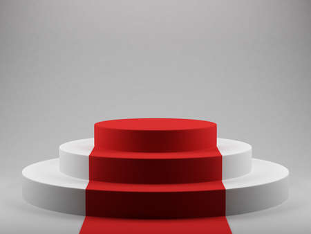 3d render of podium with red carpet photo
