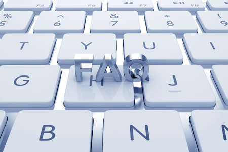 frequently: FAQ text on computed keyboard. Blue tinted  Stock Photo