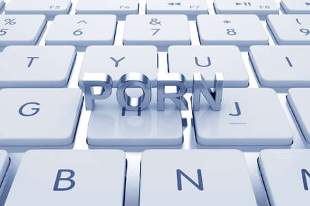 Porn text on computed keyboard. Blue tinted