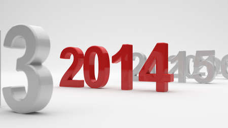 3d illustration of 2014 year on white background. Soft focus illustration