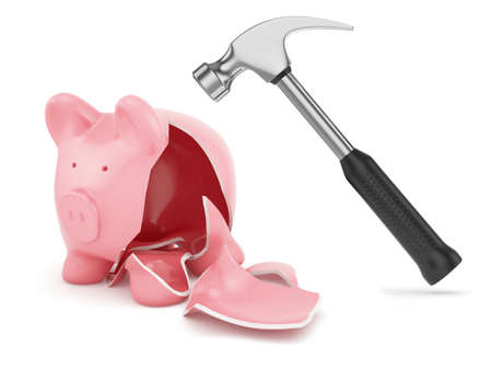 3d render of hammer and broken piggybank photo