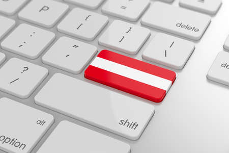 3d render of austrian flag button with soft focus photo