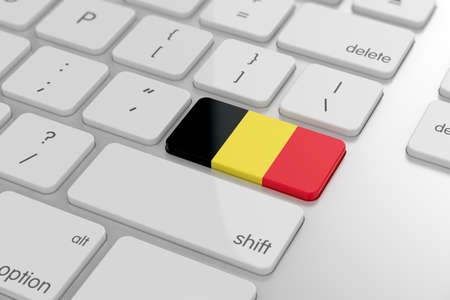 3d render of belgian flag button with soft focus photo