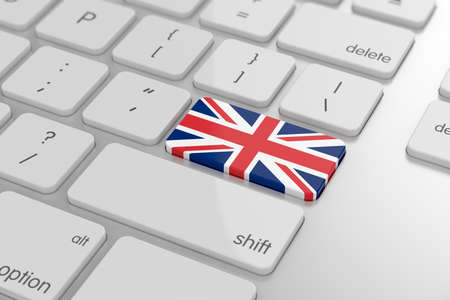 3d render of United Kingdom flag button with soft focus photo