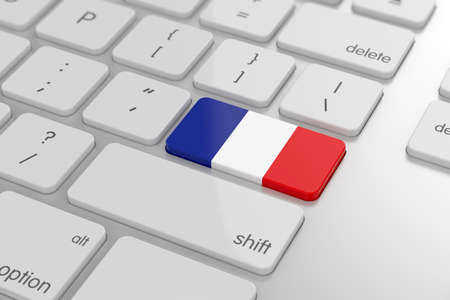 french text: 3d render of french flag button with soft focus Stock Photo