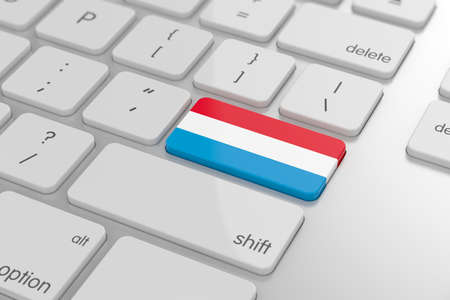 3d render of luxembourg flag button with soft focus photo