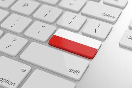 bandera de polonia: 3d de bot�n de bandera polaca con enfoque suave