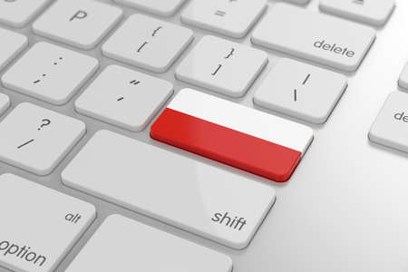 3d render of polish flag button with soft focus photo