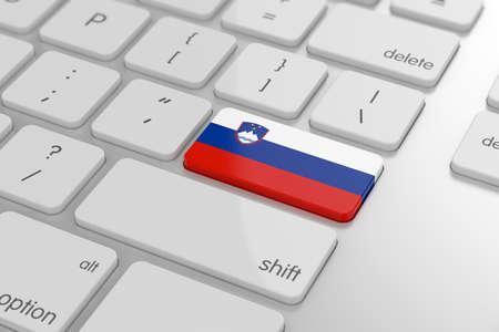 slovenian: 3d render of slovenian flag button with soft focus